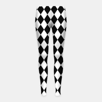 Large Black and White Harlequin Diamond Check Girl's leggings imagen en miniatura