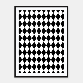 Large Black and White Harlequin Diamond Check Framed poster imagen en miniatura