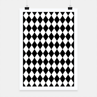 Large Black and White Harlequin Diamond Check Poster imagen en miniatura