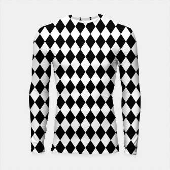 Large Black and White Harlequin Diamond Check Longsleeve rashguard  imagen en miniatura
