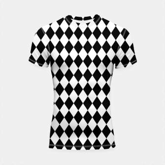 Large Black and White Harlequin Diamond Check Shortsleeve rashguard imagen en miniatura