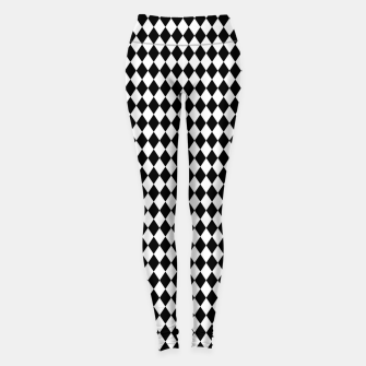 Imagen en miniatura de Classic Black and White Harlequin Diamond Check Leggings, Live Heroes