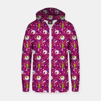 Thumbnail image of Creepy Halloween Pattern Zip up hoodie, Live Heroes