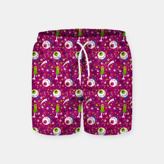 Thumbnail image of Creepy Halloween Pattern Swim Shorts, Live Heroes
