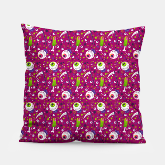 Thumbnail image of Creepy Halloween Pattern Pillow, Live Heroes