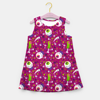 Creepy Halloween Pattern Girl's summer dress thumbnail image