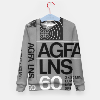 Thumbnail image of Fashion itens and decor art of a Label of a Cassette Tape Agfa  Kid's sweater, Live Heroes