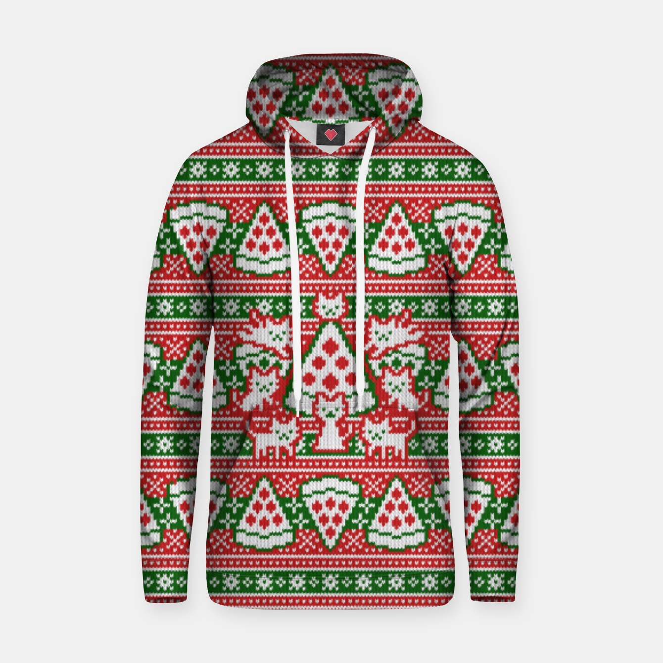 Image of Cats and pizza ugly sweater Hoodie - Live Heroes