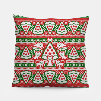 Thumbnail image of Cats and pizza ugly sweater Pillow, Live Heroes