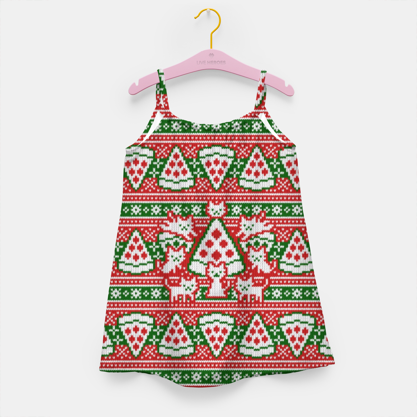 Image of Cats and pizza ugly sweater Girl's dress - Live Heroes