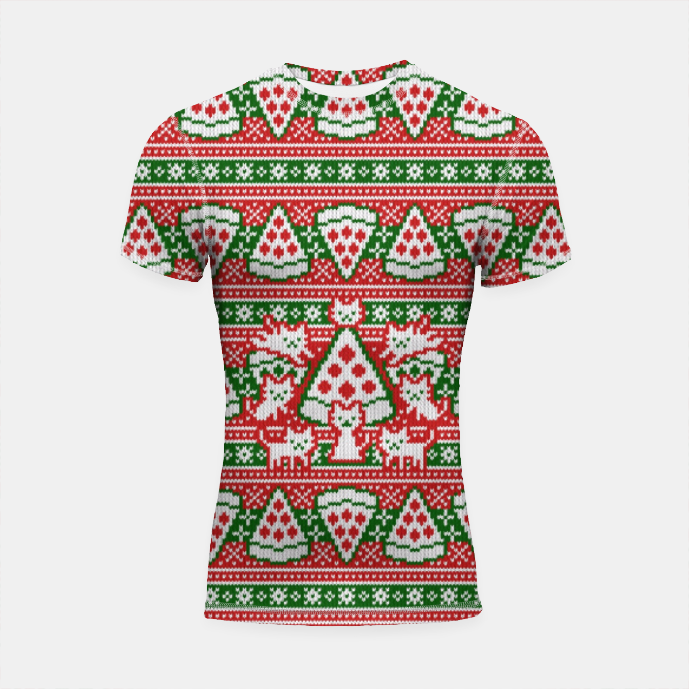 Image de Cats and pizza ugly sweater Shortsleeve rashguard - Live Heroes