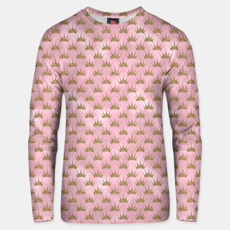 Miniatur Pink and Gold Mermaid Glitter Crowns Unisex sweater, Live Heroes