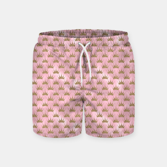 Miniatur Pink and Gold Mermaid Glitter Crowns Swim Shorts, Live Heroes