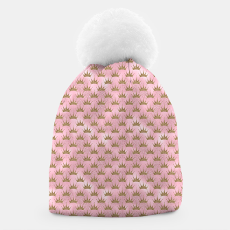 Miniatur Pink and Gold Mermaid Glitter Crowns Beanie, Live Heroes