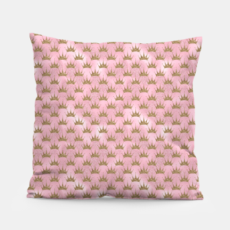 Miniatur Pink and Gold Mermaid Glitter Crowns Pillow, Live Heroes
