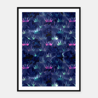 Miniatur Blue and Gold Mermaid Glitter Crowns Framed poster, Live Heroes