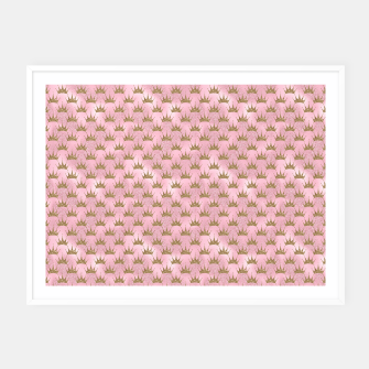 Miniatur Pink and Gold Mermaid Glitter Crowns Framed poster, Live Heroes