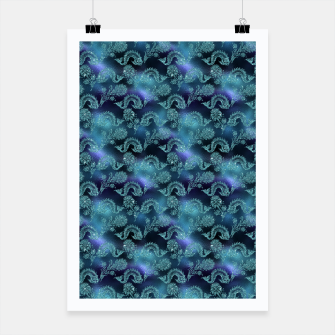 Miniatur Aqua Blue Mermaid Glitter Sea Monsters Poster, Live Heroes