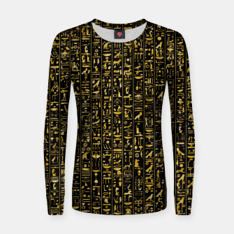 Thumbnail image of Hieroglyphics GOLD Ancient Egyptian Hieroglyphic Symbols Women sweater, Live Heroes