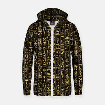 Hieroglyphics GOLD Ancient Egyptian Hieroglyphic Symbols Zip up hoodie Bild der Miniatur