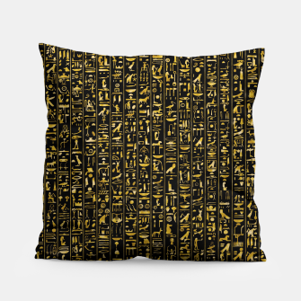 Hieroglyphics GOLD Ancient Egyptian Hieroglyphic Symbols Pillow Bild der Miniatur