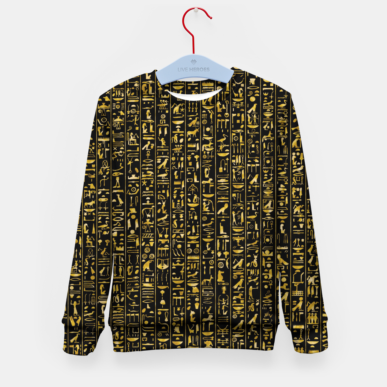 Image of Hieroglyphics GOLD Ancient Egyptian Hieroglyphic Symbols Kid's sweater - Live Heroes