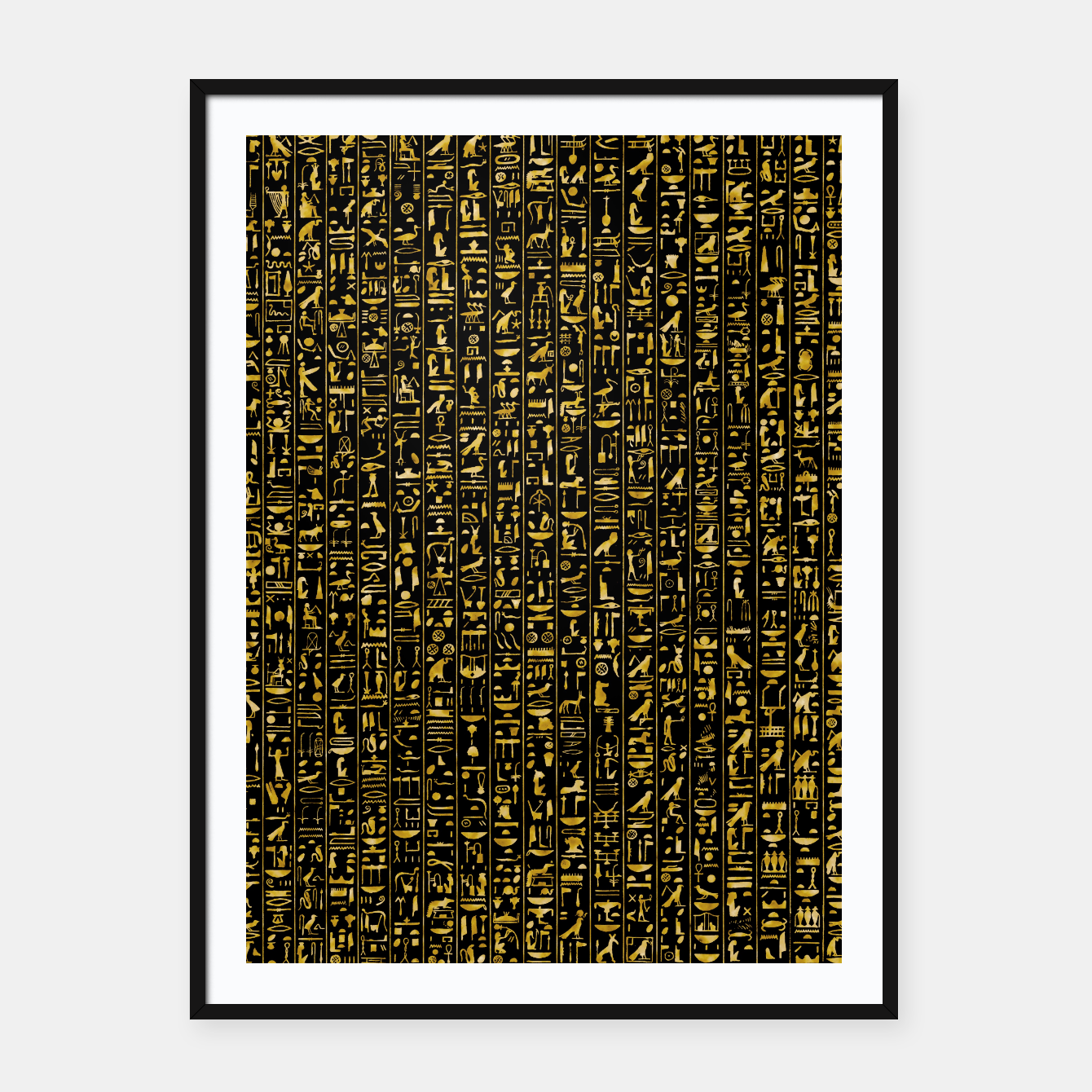 Foto Hieroglyphics GOLD Ancient Egyptian Hieroglyphic Symbols Framed poster - Live Heroes