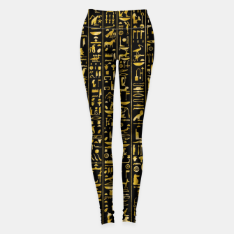 Miniatur Hieroglyphics GOLD Ancient Egyptian Hieroglyphic Symbols Leggings, Live Heroes