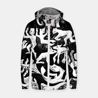 Miniatur Fashion items and decor art of MC Escher lithography Puzzle of Creatures Zip up hoodie, Live Heroes
