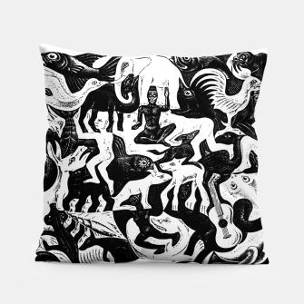 Miniatur Fashion items and decor art of MC Escher lithography Puzzle of Creatures Pillow, Live Heroes