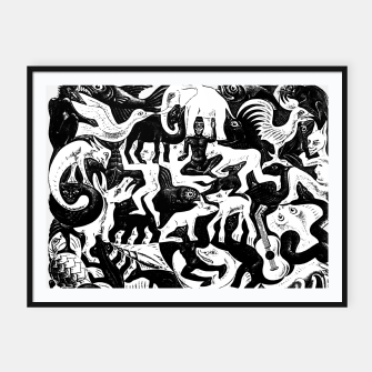 Miniatur Fashion items and decor art of MC Escher lithography Puzzle of Creatures Framed poster, Live Heroes