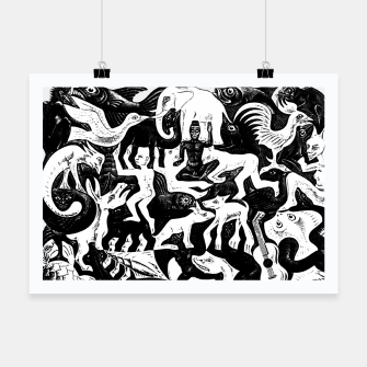 Miniatur Fashion items and decor art of MC Escher lithography Puzzle of Creatures Poster, Live Heroes