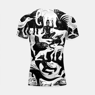 Miniatur Fashion items and decor art of MC Escher lithography Puzzle of Creatures Shortsleeve rashguard, Live Heroes