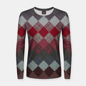 Thumbnail image of black white grey silver red geometric pattern Women sweater, Live Heroes