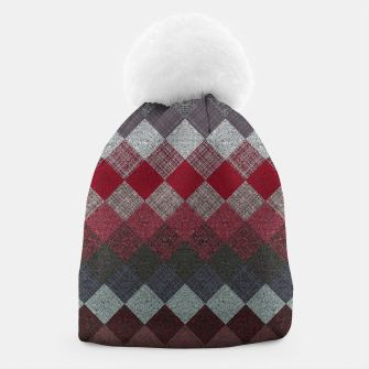 Thumbnail image of black white grey silver red geometric pattern Beanie, Live Heroes