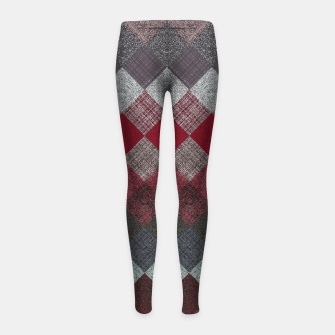Thumbnail image of black white grey silver red geometric pattern Girl's leggings, Live Heroes