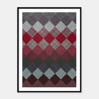 Thumbnail image of black white grey silver red geometric pattern Framed poster, Live Heroes