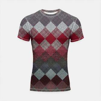 Thumbnail image of black white grey silver red geometric pattern Shortsleeve rashguard, Live Heroes