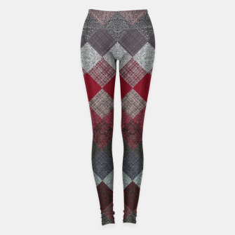 Thumbnail image of black white grey silver red geometric pattern Leggings, Live Heroes
