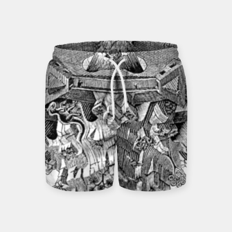 Thumbnail image of Fashion art and decor items of MC Escher Tri Dimensional Litography Swim Shorts, Live Heroes