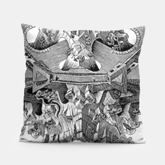 Thumbnail image of Fashion art and decor items of MC Escher Tri Dimensional Litography Pillow, Live Heroes