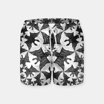 Miniatur Fashion items and decor art of  MC Escher Pattern Circle Angels and Demons Swim Shorts, Live Heroes