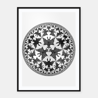 Miniatur Fashion items and decor art of  MC Escher Pattern Circle Angels and Demons Framed poster, Live Heroes