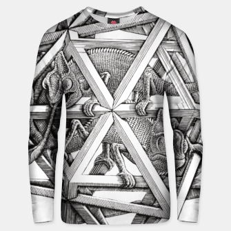 Miniaturka Fashion art and decor items of MC Escher Kaleidoscope Chameleon in a cage Unisex sweater, Live Heroes