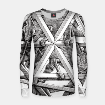 Thumbnail image of Fashion art and decor items of MC Escher Kaleidoscope Chameleon in a cage Women sweater, Live Heroes