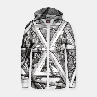 Miniaturka Fashion art and decor items of MC Escher Kaleidoscope Chameleon in a cage Zip up hoodie, Live Heroes
