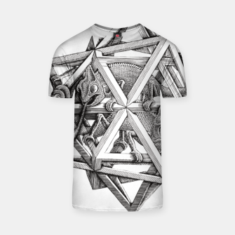 Thumbnail image of Fashion art and decor items of MC Escher Kaleidoscope Chameleon in a cage T-shirt, Live Heroes