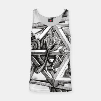 Thumbnail image of Fashion art and decor items of MC Escher Kaleidoscope Chameleon in a cage Tank Top, Live Heroes