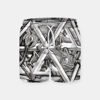 Thumbnail image of Fashion art and decor items of MC Escher Kaleidoscope Chameleon in a cage Swim Shorts, Live Heroes