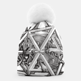Thumbnail image of Fashion art and decor items of MC Escher Kaleidoscope Chameleon in a cage Beanie, Live Heroes